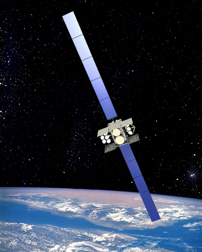 The Wideband Global SATCOM satellite is the successor to the Defense Satellite Communications System-III. One WGS satellite has about 12 times the bandwidth of a DSCS-III satellite. (Courtesy photo)